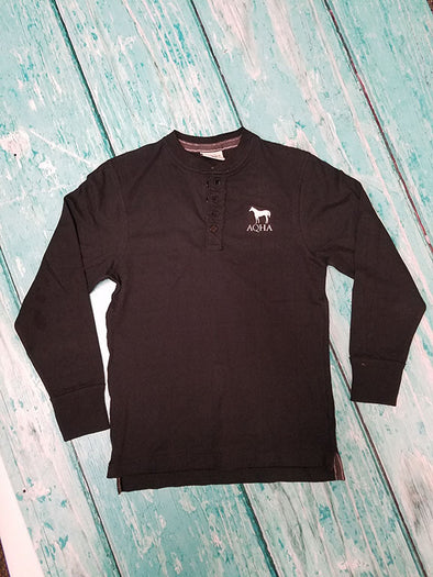 AQHA Black vintage Brushed Henley