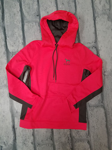 AQHA Ladies Hot Coral and Dark Smoke Grey Hoodie