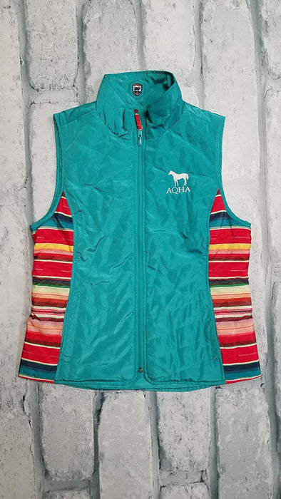 Ladies Teal and aztec Vest with a white AQHA and horse logo