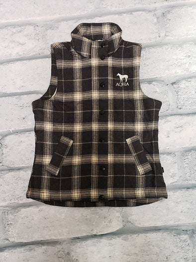 AQHA Ladies Grey/Black Plaid Vest