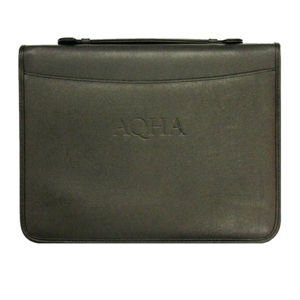 AQHA Leather Zipper Binder