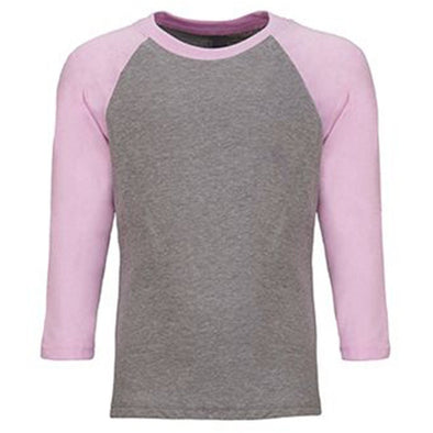 Youth Baseball Tee Lilac and Heather Grey