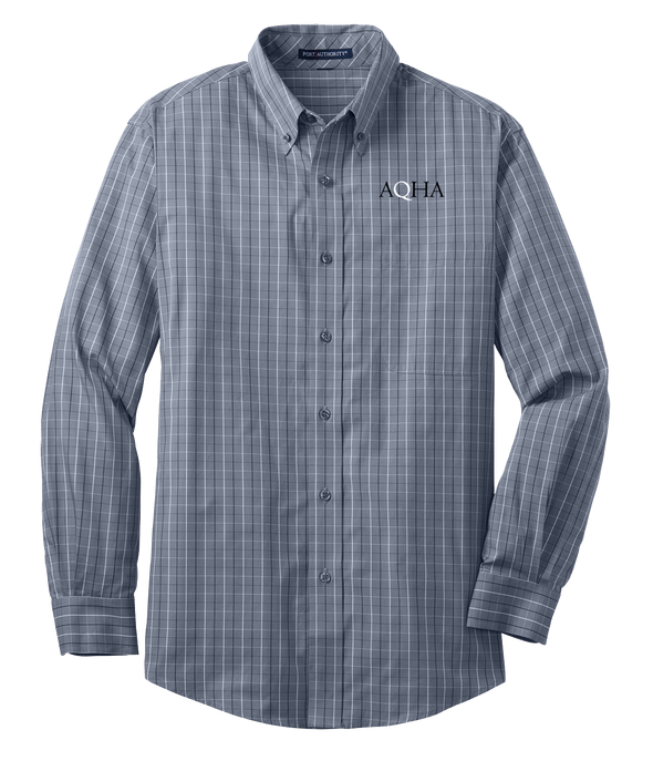 AQHA Grey and White Plaid Button down