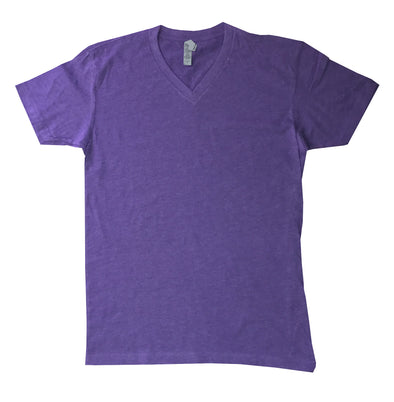 heather purple v-neck ss