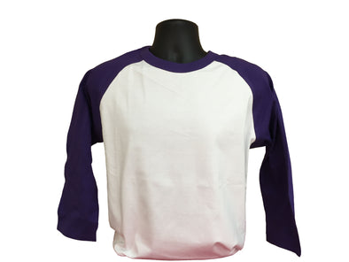 Blank purple and white baseball tee