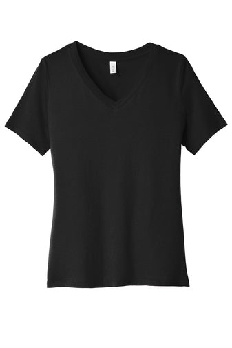 Ladies Relaxed Black v-neck ss