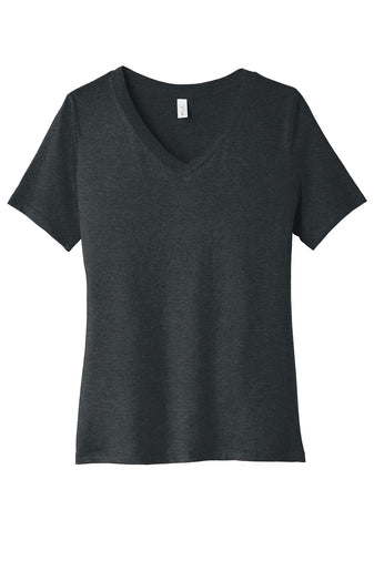 ladies  black heather v-neck ss