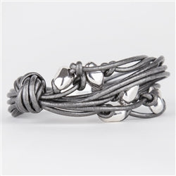 Steel Gray Leather Bracelet
