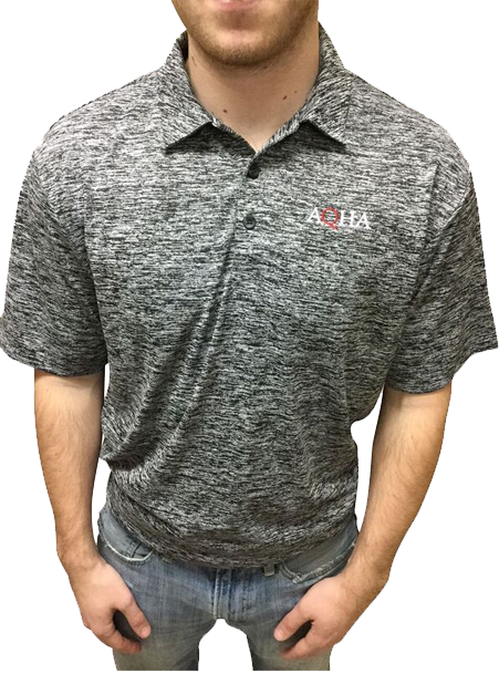 AQHA Men's Black Electric Polo