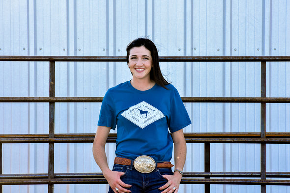 AQHA White Diamond Deep Teal Tee