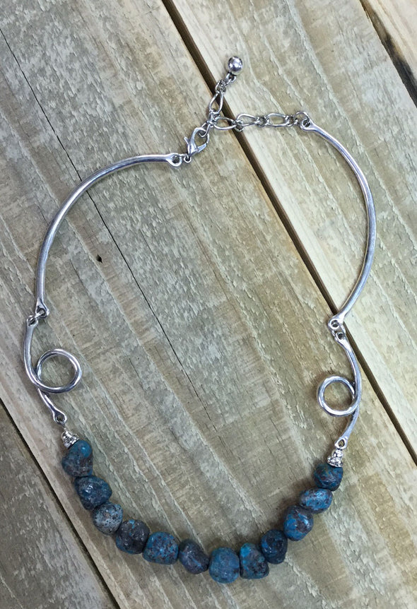 Turquoise Stone & Curled Silver Necklace