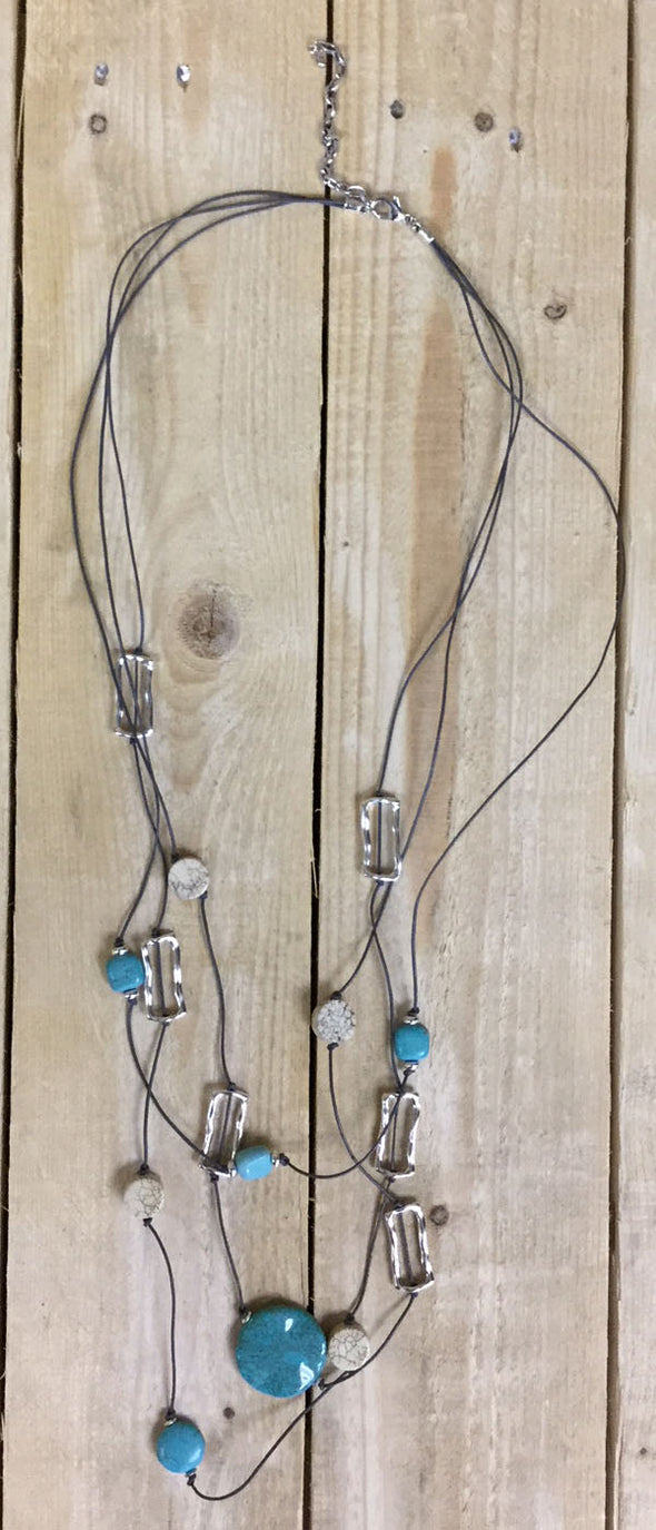 Turquoise, Cream & Silver Multi Necklace