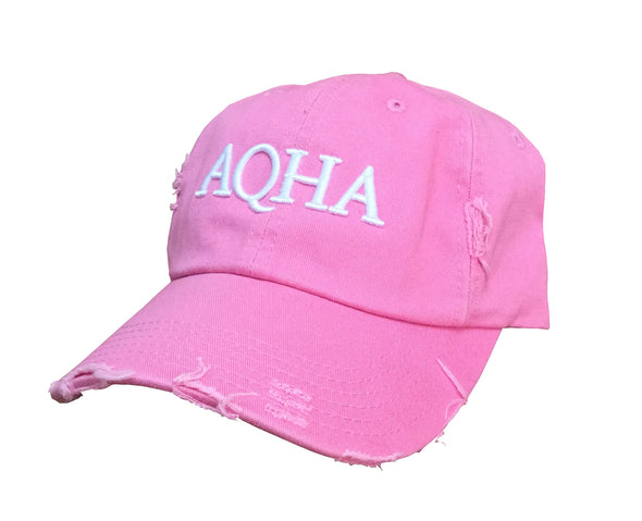 Pink & White AQHA Distressed Cap