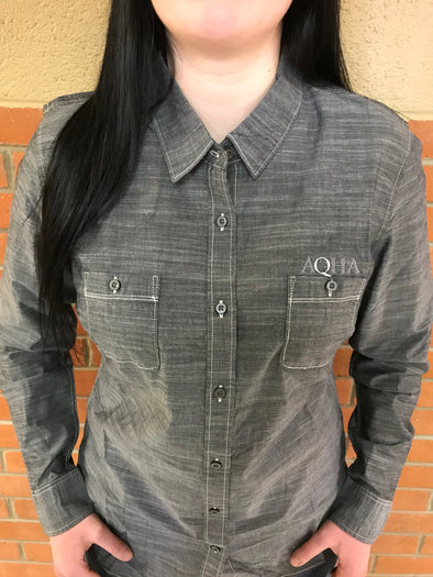 AQHA Ladies Chambray Grey Wash Button down