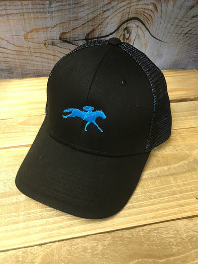 AQHA Black and Shock Blue Mesh Racing Cap