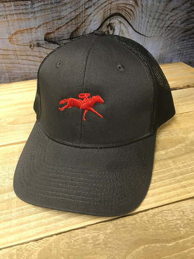 Red AQHA Racing Grey Mesh Cap