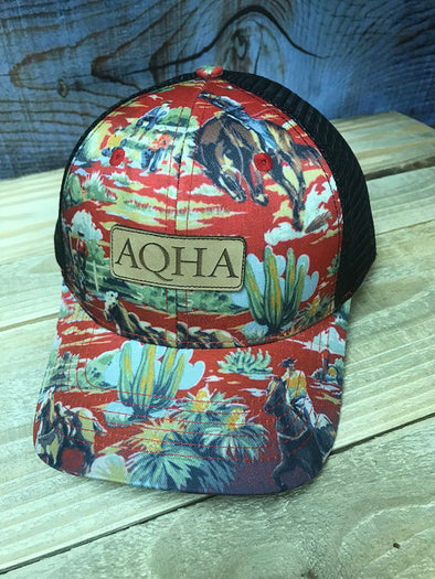 AQHA Cowboy Pajamas Leather Patch Cap