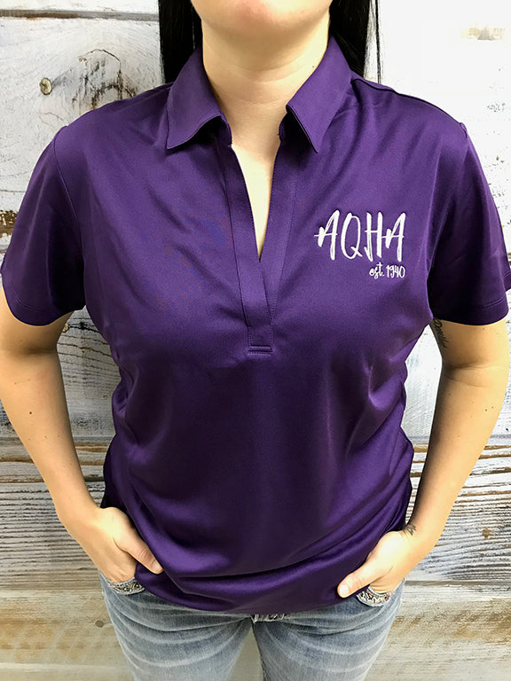 Stretched AQHA est 1940 Ladies Purple polo