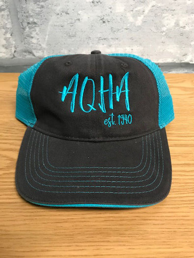 Charcoal and Neon Blue Stretched AQHA Cap