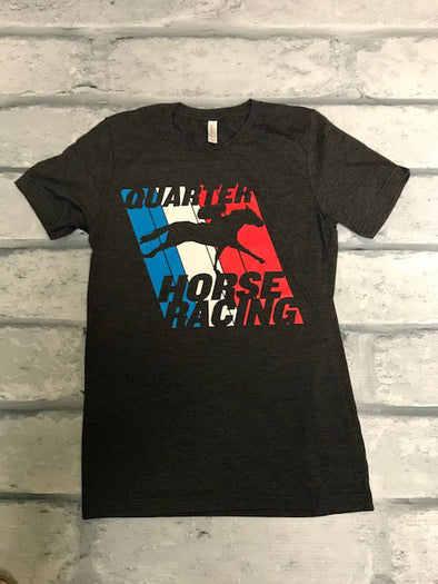 Unisex Dark Heather Red White and Blue Racing Tee