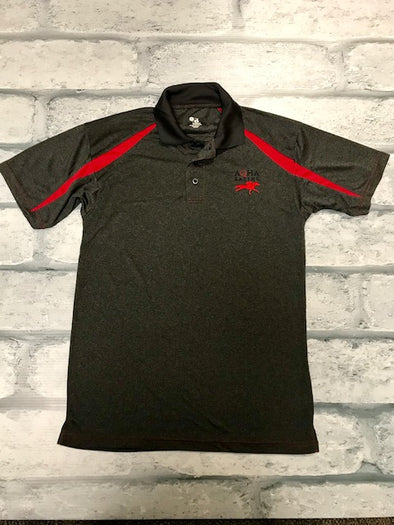 AQHA Racing Carbon Heather  Grey and Red Fusion sport Polo