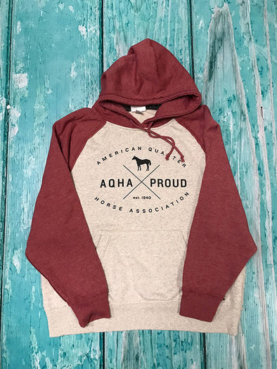 AQHA Oatmeal Heather/Red Vintage Hoodie