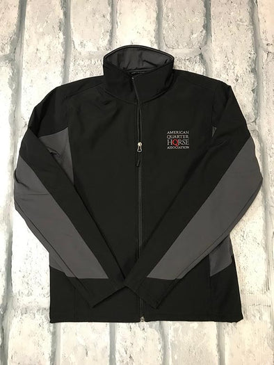 Stacked AQHA grey/red on Black and Grey Soft Shell Jacket