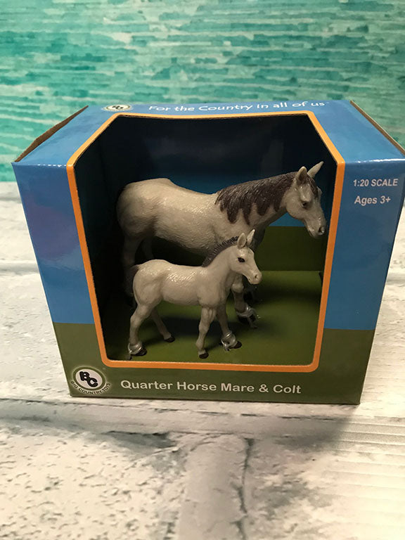 Quarter Horse Mare and Colt 4 piece toy set