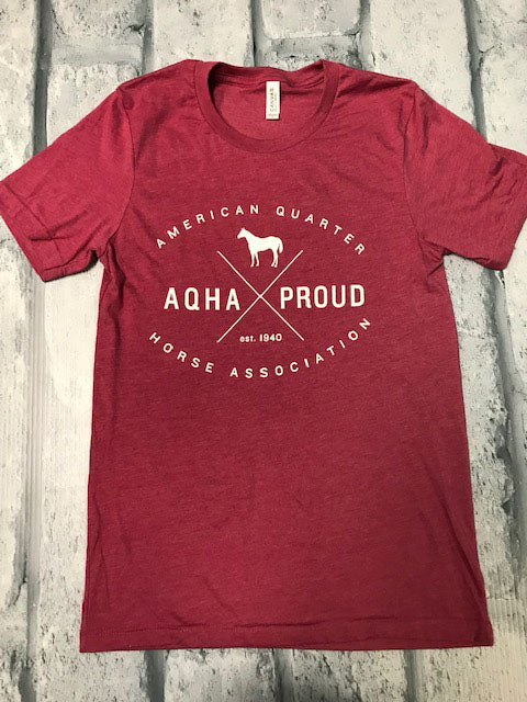 Heather Raspberry AQHA Proud X in white Tee