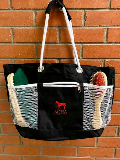 Black and White Rope A Tote Groom Bag Red AQHA