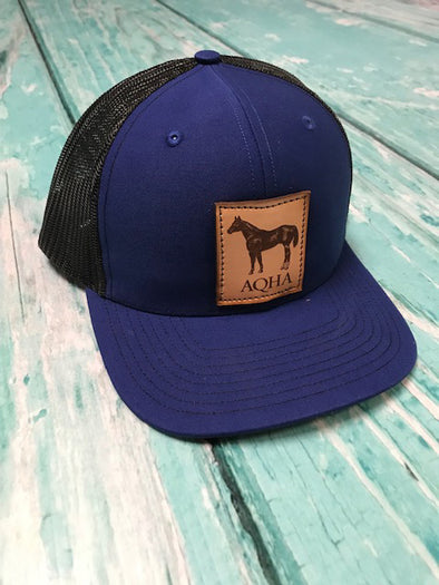 Leather Patch AQHA Standing Horse Royal and Black Mesh Cap