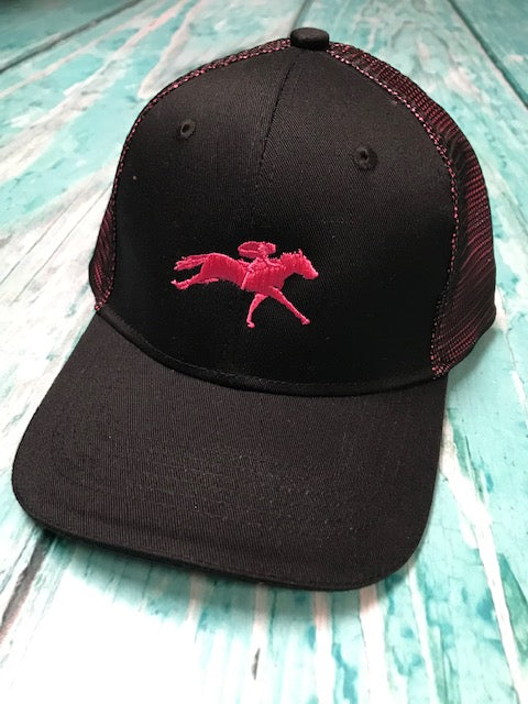 AQHA Black and Shock Pink hat Racing