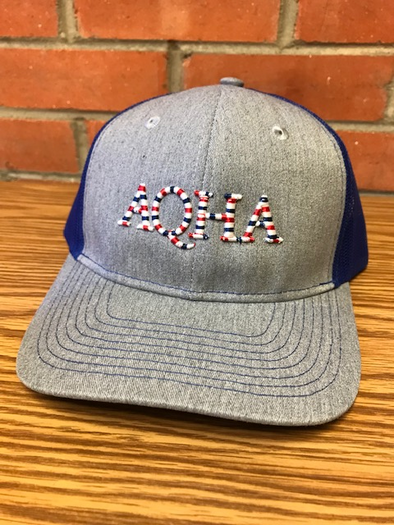 AQHA Red White Blue Patriot Blue and Grey mesh cap