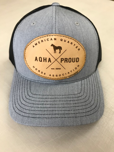 AQHA Proud X Leather Patch Black Heather Grey Mesh Cap