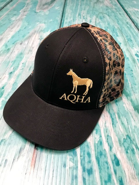 AQHA Horse Black and Leopard Mesh Cap