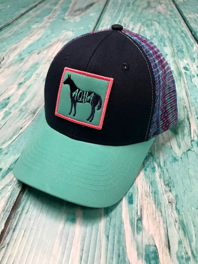 AQHA Horse navy and Turquoise Aztec Mesh Cap