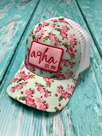 AQHA Pink and Teal Flower Mesh Cap