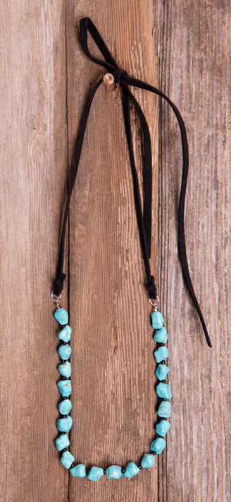 Black Leather Turquoise Necklace