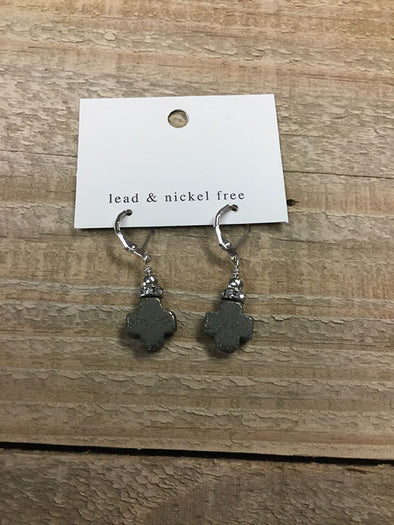 Small dangle Stone Cross Earring