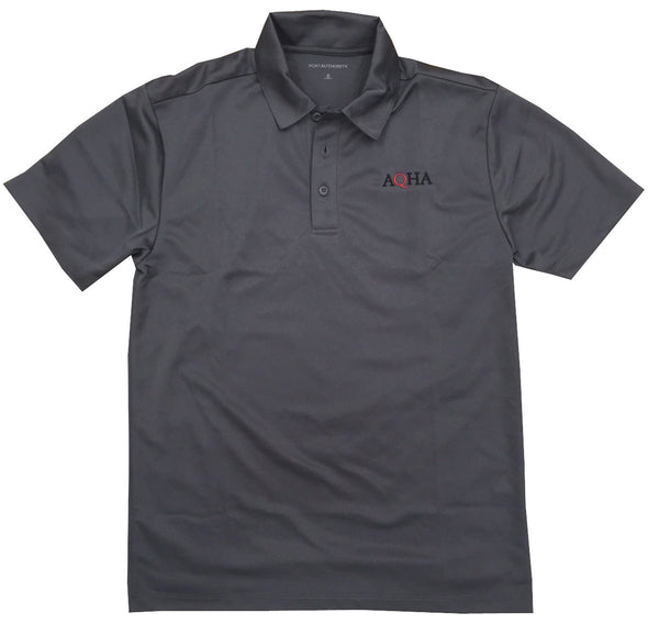 Men's AQHA Black Red Grey Dri Mesh Polo