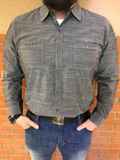 AQHA Mens Grey Wash Buttondown