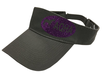 Grey Visor with Side Purple Glitter Oval