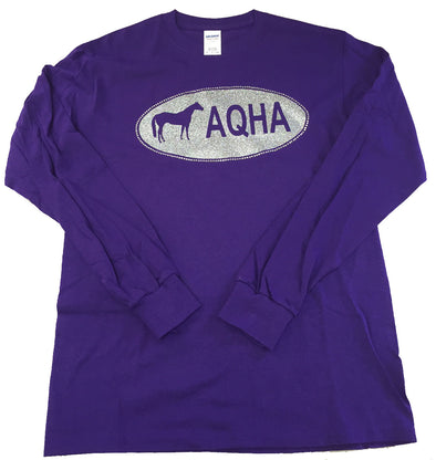 Silver Oval on Purple Long Sleeve