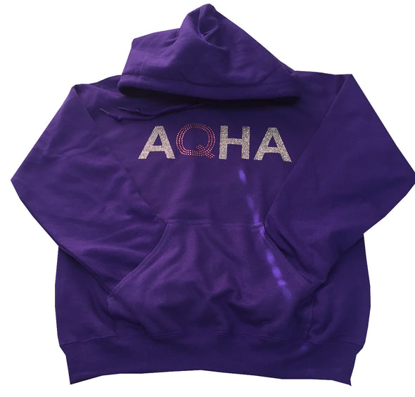 Purple Hoodie Glitter AQHA with Bling