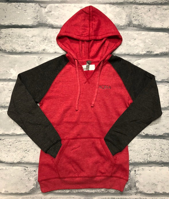 AQHA Ladies Red Heather /Heather Charcoal Raglan Hoodie