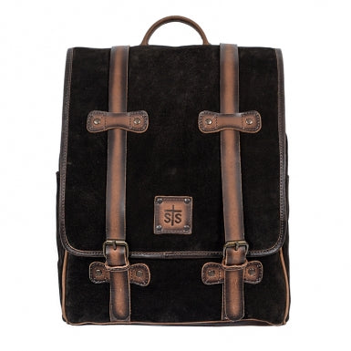 Brown Suede and Leather Knapsack