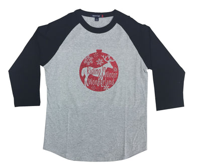 Red Ornament Black Baseball Tee