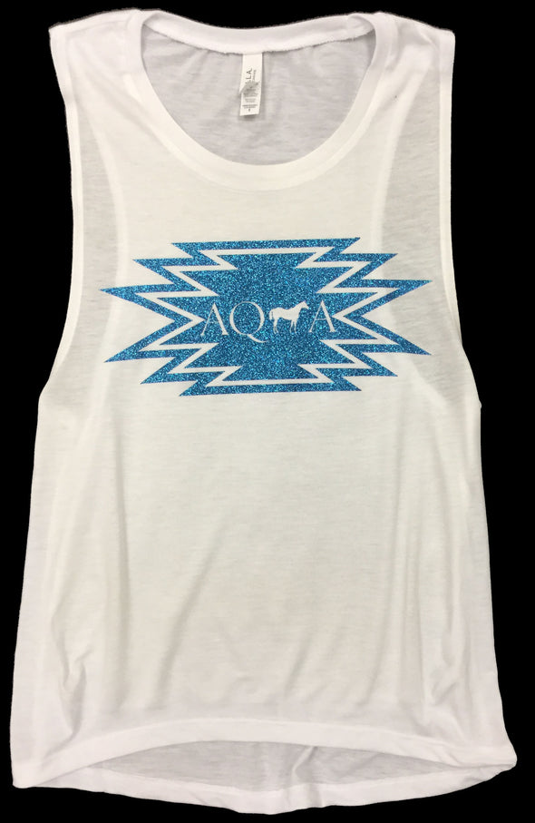 Blue Aztec White Tank