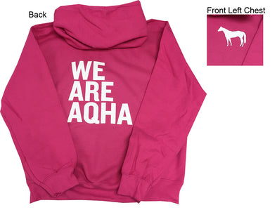 Pink Hoodie We Are AQHA with White Horse