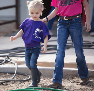 Purple Youth Tee with AQHA & Horse